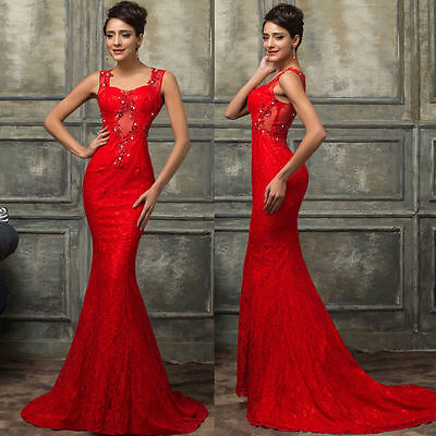 RED Bridesmaid Prom Party Dress Formal LONG Evening Ball Gown Cocktail WEDDING *