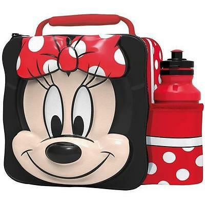Disney Minnie Mouse Thermal 3D School Lunch Bag Box & Drink Bottle Set 59555