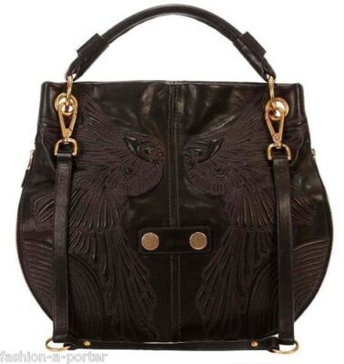 ALEXANDER McQUEEN LEATHER SKULL ANGEL WINGS HOBO SHOULDER EXPANDABLE BAG BNWT