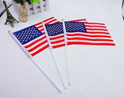 2 Pcs Small Handheld American Flags USA Military Stick Ground Flags 14*21cm