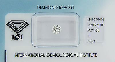 Diamond 0,71ct I VS 1 Round Diamant IGI Certificate  - Laserscribe and Sealed -