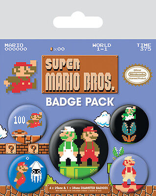 SUPER MARIO BROS. Ansteck-Buttons Retro Edition 5er-Pack Badge Pack NEU+OVP
