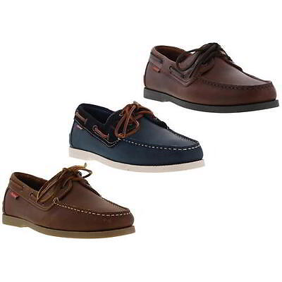 Chatham Galley Mens Brown Blue Leather Boat Deck Shoes Size UK 8-11