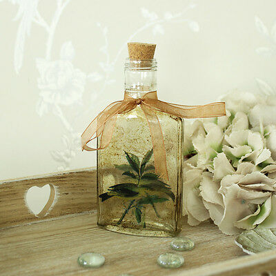Vintage glass bottle bird detail cork top shabby country chic decoration perfume