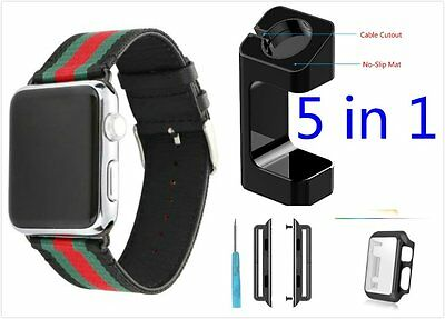 5 in 1 Bundle Stripes Black Mix Colour Woven Wrist Band For Apple Watch 42mm