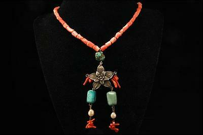 Antique Asian Chinese Coral Turquoise Pearl Silver Flower Necklace
