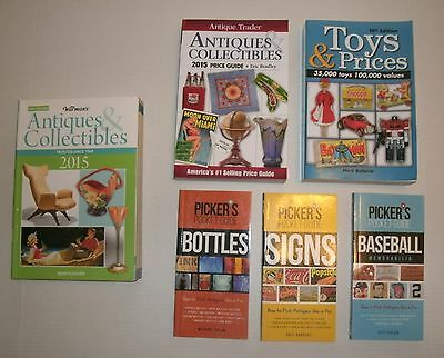 6 BOOKS: 2015 Antiques & Collectibles / Toys & Prices /Baseball / Bottles /Signs