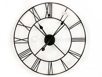 Traditional Vintage Style Black Iron Wall Clock Roman Numeral Skeleton Frame 60C