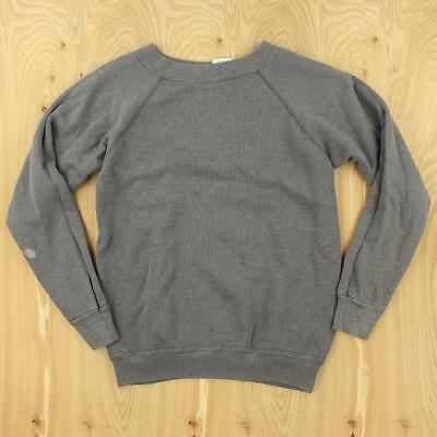 vtg usa made gray 80's 90's raglan sweatshirt MEDIUM hanes thin boxy distressed