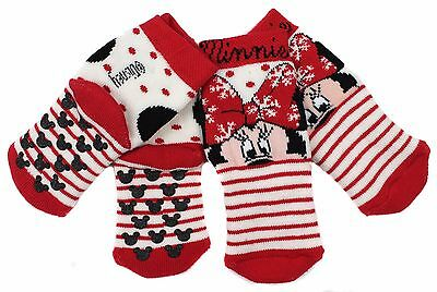 Baby Girls Minnie Mouse Slipper Socks 0-2.5 Shoe 6-12m TWO PAIRS Ideal In Home