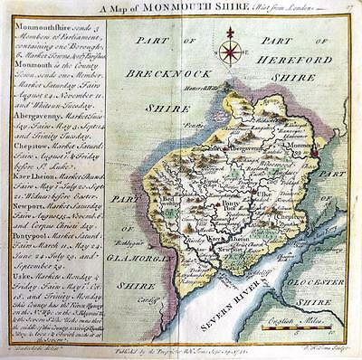MONMOUTHSHIRE MONMOUTH NEWPORT   BY BADESLADE & TOMS  GENUINE ANTIQUE MAP  c1742