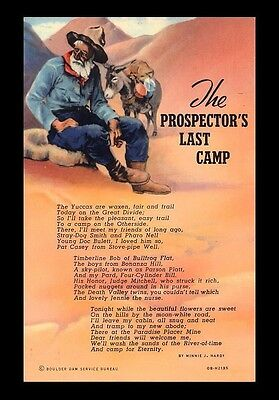 "Vintage ""the Prospector's Last Camp"" Old Donkey Prospector Art Poem Postcard"
