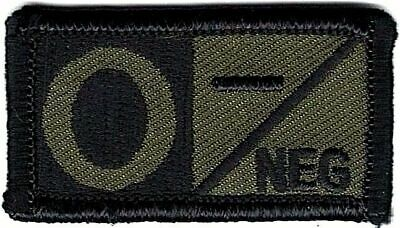 Olive Green Black Blood Type O- Negative Patch VELCRO® BRAND Hook Fastener Compa