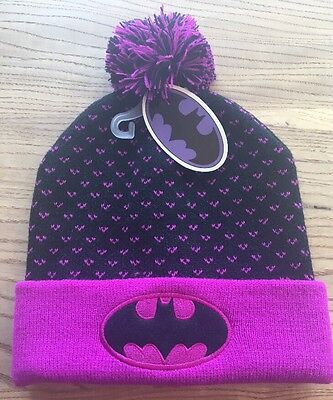BATMAN NWT Girls / Juniors Winter Hat Beanie Black Purple ~ Superhero Pom Pom