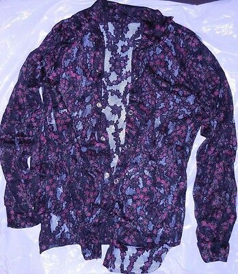 NWT lace tiny floral latin snap front boys mens shirt Dance costume longsleeve