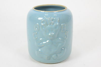 Powder Blue Vintage Cookie Jar Raised Teddy Bear Image Yellow Stoneware No Lid