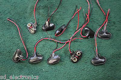 10 X LOT 9V VOLT BATTERY CAP  PIG TAIL WIRE LEAD adaptor