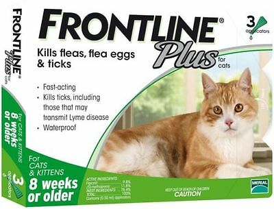 3 Doses Genuine Frontline Plus For CATS 3 Month Supply Cat Flea & Tick Remedy