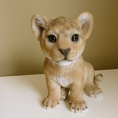 BABY LION FIGURINE STATUE RESIN PET Jungle African  Ornament New Cub
