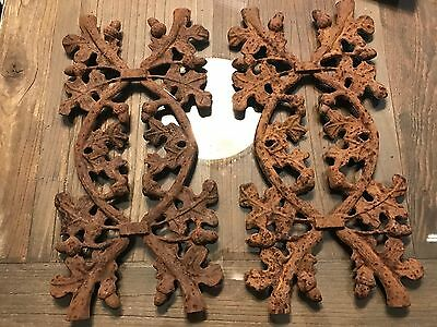 Set Of Two Acorn Wrought Iron Gate Fence Pieces Architectural Salvage