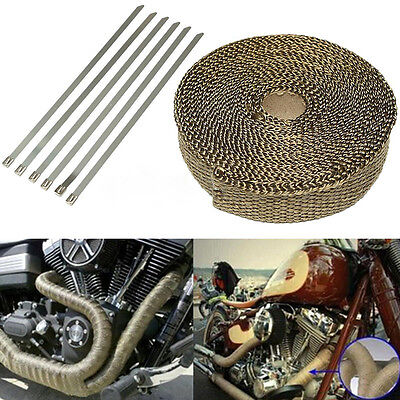 Titanium 2.5CM*7.5M Exhaust/Header Heat Wrap with Stainless Cable Ties