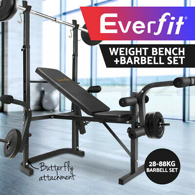 Everfit Multi-Station Adjustable Weight Bench 38-88KG Barbell Set Press Fitness