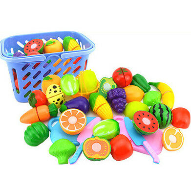 23X Kid Pretend Role Play Kitchen Fruit Vegetable Toy Child Wooden Cutting Set P