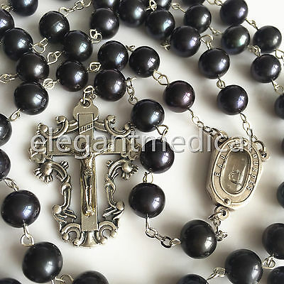 Catholic XL AAA10-11MM Black Tahitian Real Pearl BEADS ROSARY CROSS NECKLACE Box