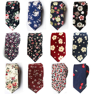 Men Cotton High Quality Flowers Paisley Skinny Neckties Wedding Casual Tie