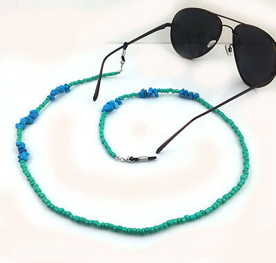 Turquoise Beaded Eyeglass Cord Reading Glasses Eyewear Spectacles Chain Holder
