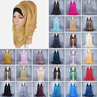 Women Muslim Islamic Tassel Glitter Long Hijab Scarf Shawl Wrap HIGH QUALITY