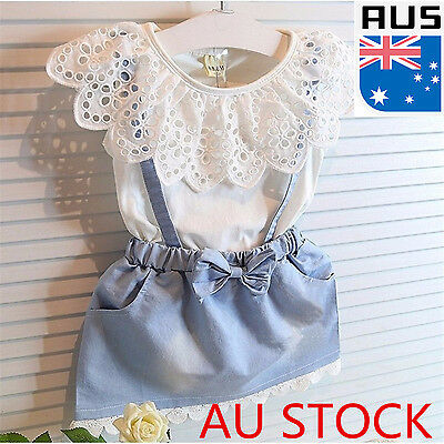 Kids Girls Dress Cute Princess Girl Baby Sleeveless Denim Tulle Bowknot Dress