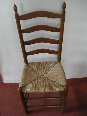 Vintage Ladders-back chairs, rush seats, hardwood Elm?  set of 4, good condition