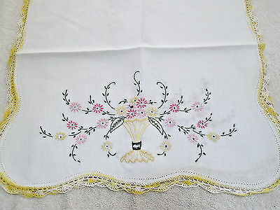 Vintage Table Runner Vase Flowers Yellow Embroidered