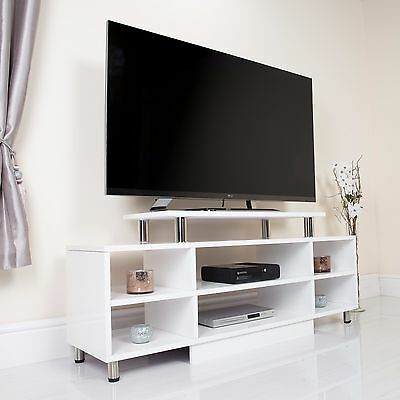 "White High Gloss TV Stand Modern Entertainment Shelving Unit For 32"" to 65"""