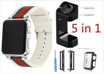 5 in 1 Bundle Stripes White Mix Colour Woven Wrist Band For Apple Watch 38mm