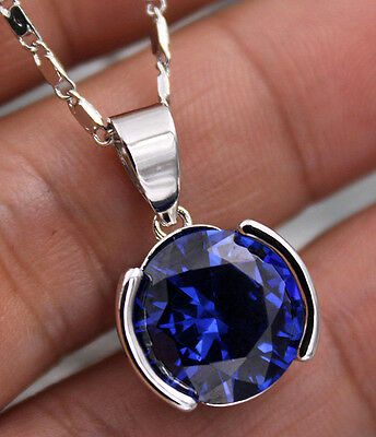 18K White Gold Filled - Big 12MM Navy Blue Round MYSTICAL Topaz Pendant Necklace