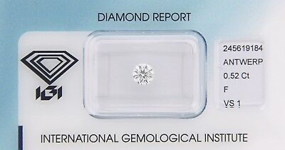 Diamond 0,52ct F VS 1 Round Diamant IGI Certificate  - Laserscribe and Sealed -