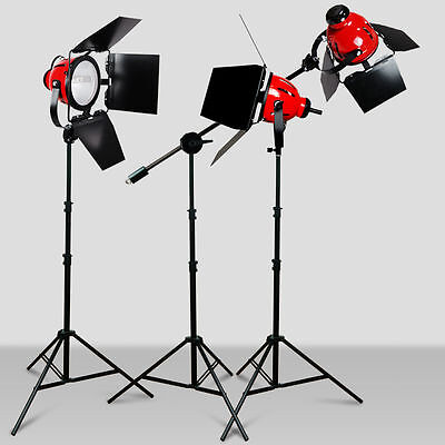 3X800W Dimmable Photo Studio Continuous RedHead Light Video Lighting +Bulb 2400W