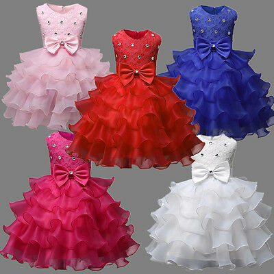 New Baby Girls Kids Pageant Princess Bow Party Evening Tutu Wedding Dress