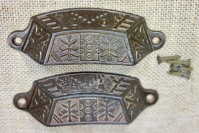 "2 old Bin Drawer Pulls handles rustic Windsor leaves 4 3/4"" vintage cast iron"