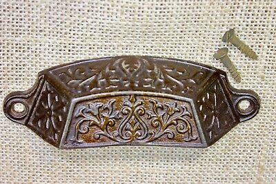 "old Bin Drawer Pull cup handle 4 3/4"" rustic vintage ferns primitive cast iron"