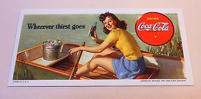 "VINTAGE COCA COLA 1942 Blotter ""Wherever thirst goes""...Excellent!"