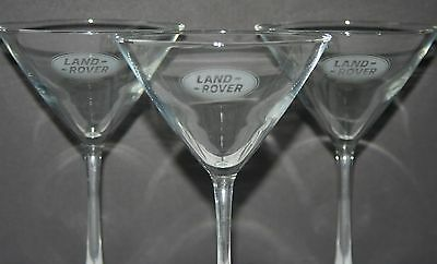 Lot of 3 Land Rover Range Rover Martini Glasses Etched Glass Defender Series 1 2