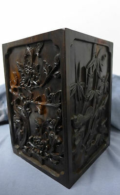 Chinese Carved Hardwood Brush pot 4 Panel Vase