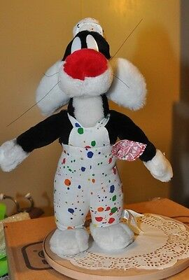 "Ace Looney Tunes Plush Sylvester the Cat In Painter Outfit Figure 17"" 1999"