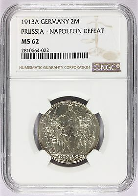 1913-A Germany Prussia Napoleon Defeat 2 Mark Silver Coin KM# 532 - NGC MS 62