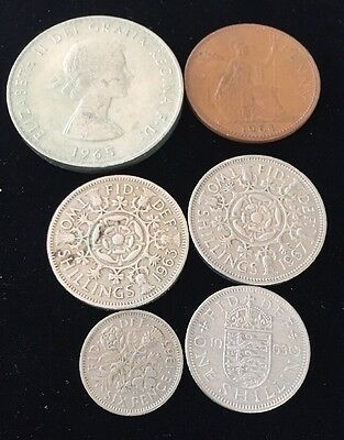 SIX ASSORTED 1960's GREAT BRITAIN COINS LOT 1030