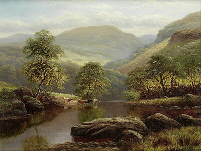Art Print River Cattle Classical Landscape Oil painting Printed on canvas P775