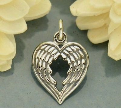 Double Angel Wing Heart Love Charm Pendant for Necklace .925 Sterling Silver